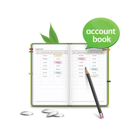 account: account book with speech bubble