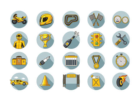 speedway: set of race equipment Illustration