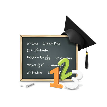 mortarboard: chalkboard with mortarboard
