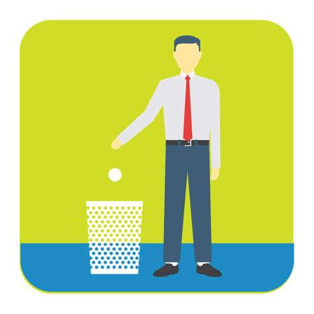 dropping: man dropping dust in dustbin