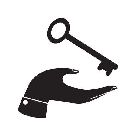 receiving: hand receiving a key Illustration