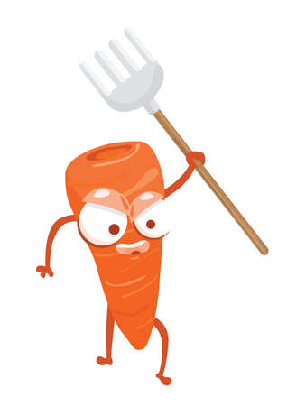 vegetable gardening: carrot holding gardening fork Illustration