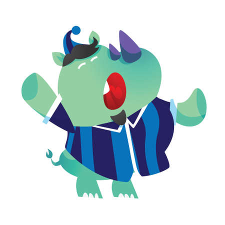 pyjama: rhinoceros cartoon yawning Illustration