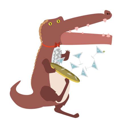 clumsy: clumsy cartoon alligator Illustration