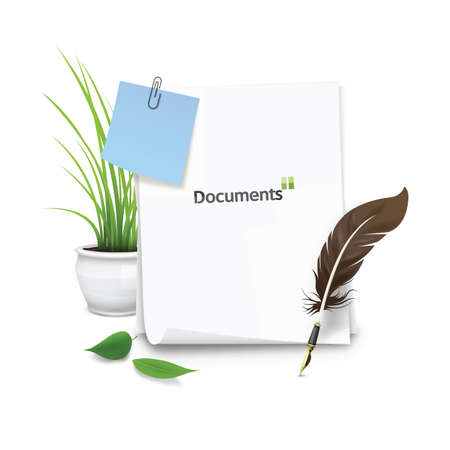 potted plant: documents with quill and potted plant