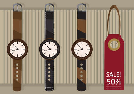 wrist hands: wrist watches with sale tag Illustration