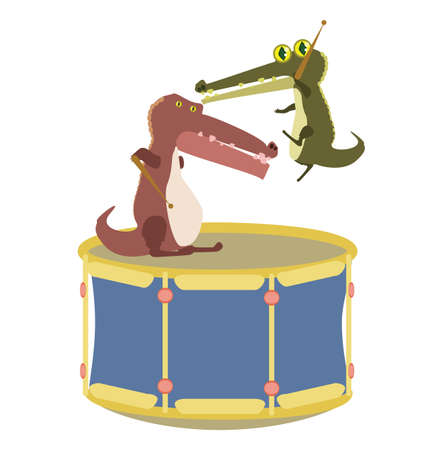 alligators: cartoon alligators playing drum