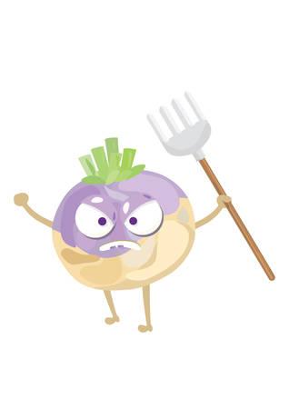 turnip: turnip holding gardening fork