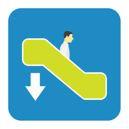 going down: man going down on escalator Illustration