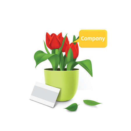 potted plant: potted plant with speech bubble Illustration