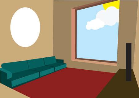 seating: hall interior Illustration