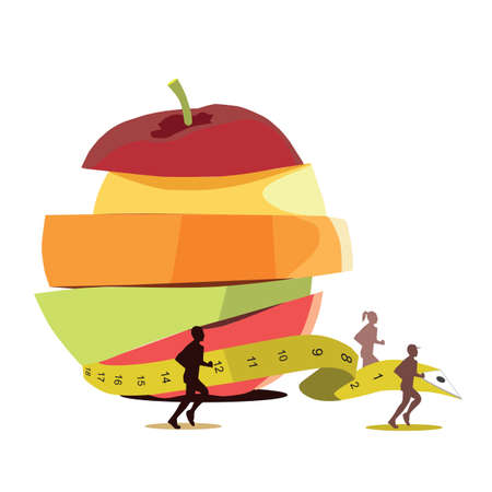 measuring tape: healthy food for diet and measuring tape