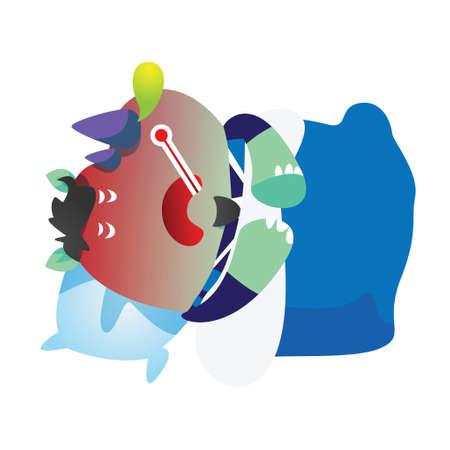 rhinoceros: sick rhinoceros cartoon Illustration