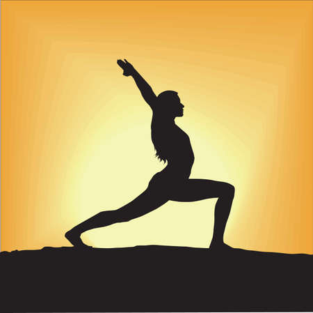 woman exercising: silhouette of woman exercising during sunrise Illustration