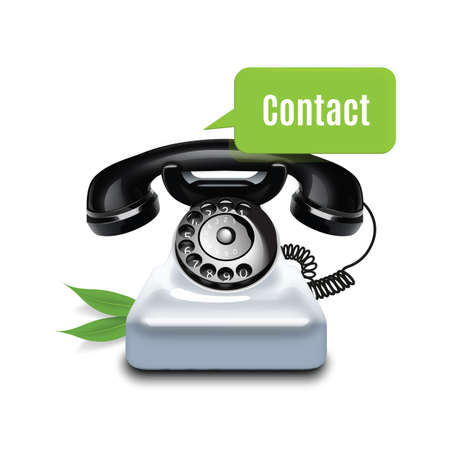 contacting: telephone with chat bubble