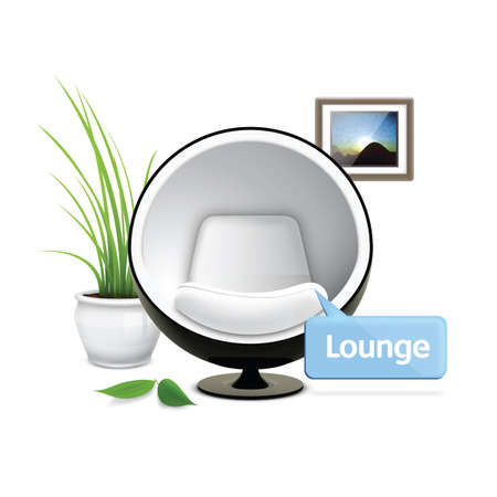 potted: lounge chair with potted plant and photo frame