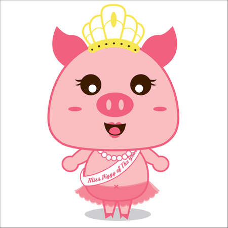 beauty contest: pig with tiara on head