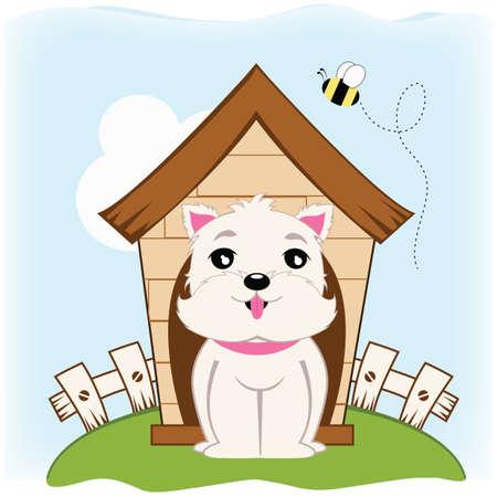 kennel: dog sitting near kennel