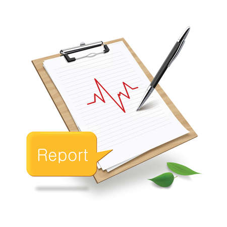 medical clipboard: clipboard with medical report and speech bubble