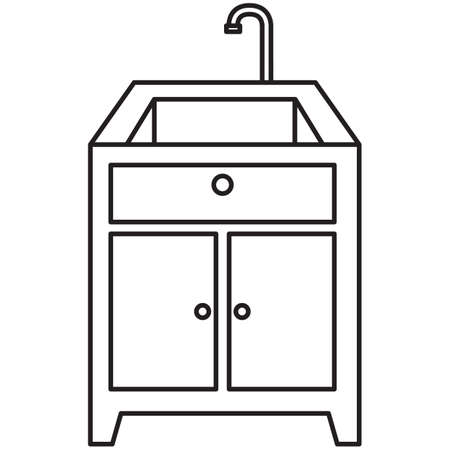 kitchen sink: kitchen sink and counter top Illustration