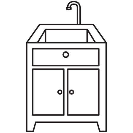 Küchenspüle und Zähler nach oben