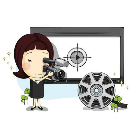 film shooting: girl shooting a film Illustration