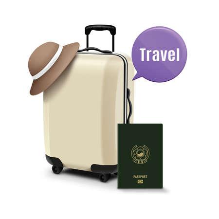 Sac à roulettes avec passeport et bulle de parole