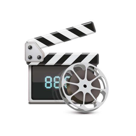 clapperboard: clapperboard with film reel Illustration