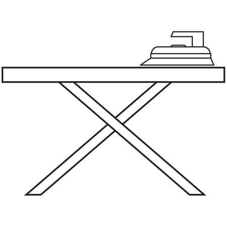 strijkijzer met strijkplank Stock Illustratie