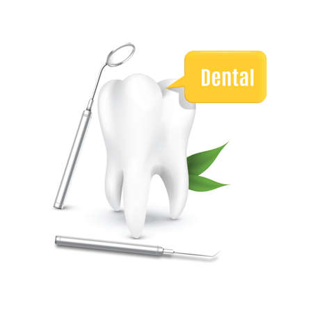 to mirror: tooth with dental mirror and probe Illustration