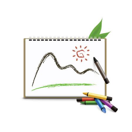 sketchbook with crayons