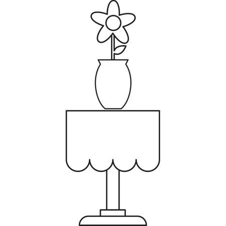 side table: flower with vase on side table