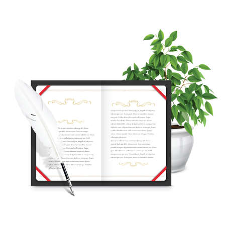 potted plant: diary with quill and potted plant