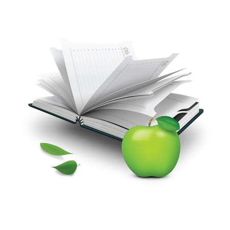 diary: diary with green apple