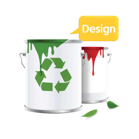 paint can: paint can with recycle symbol