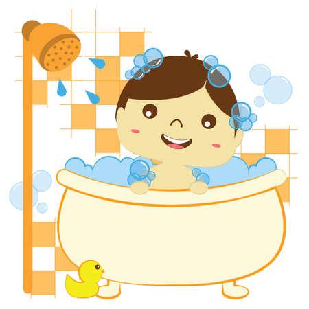 boy bath: boy taking bath in bathtub