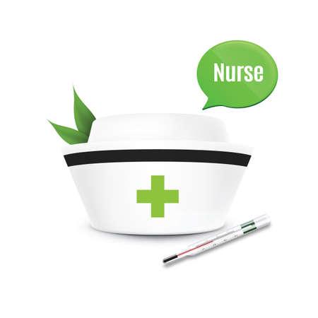 nurse cap: casquillo de la enfermera con bocadillo Vectores