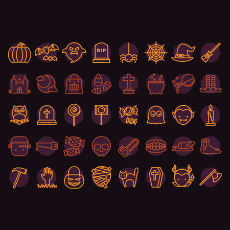 electric broom: collection of halloween icons