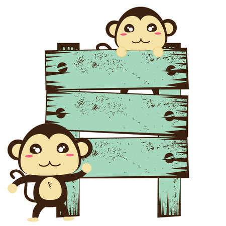 a signboard: monkey with signboard Illustration