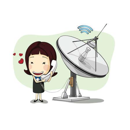 radar: businesswoman with mobile radar dish Illustration