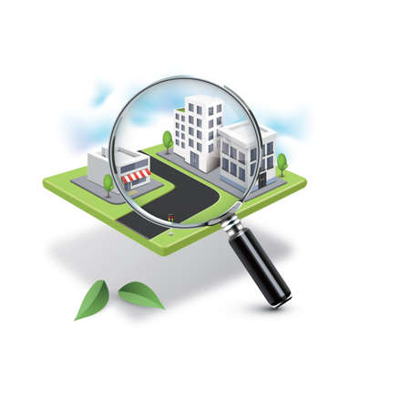 apartment search: cityscape with magnifying glass Illustration