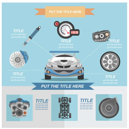 brake disc: collection of car parts Illustration
