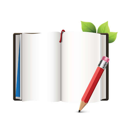 diary with pencil 向量圖像