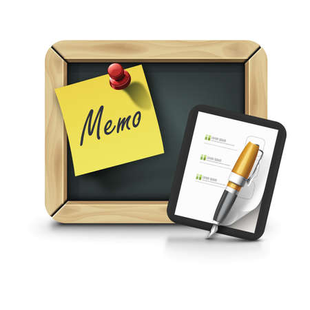 memo board: notice board with memo and document with fountain pen Illustration