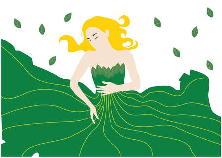 gown: woman in leaf gown Illustration