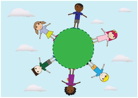 children surrounding earth Ilustração Vetorial