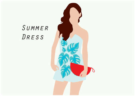 summer dress: girl in summer dress Illustration