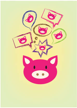 swines: pig with thought and speech bubbles Illustration