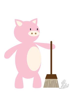 zwabber: varken met behulp van mop