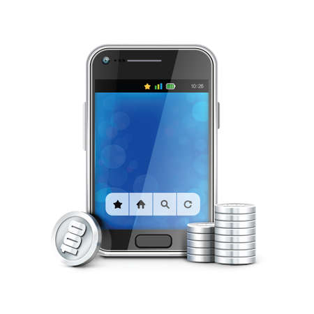smart phone: smart phone with coins Illustration